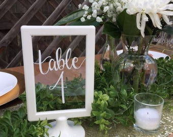 white frame wedding table number, wedding centerpiece, handwritten table number, custom wedding sign, white frame