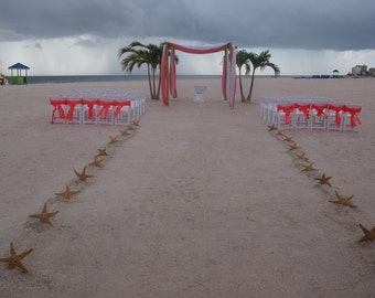 "Beach Wedding Starfish Aisle Way Decorating Kit-  Large (20) 8""-10"" Sugar Starfish Included"