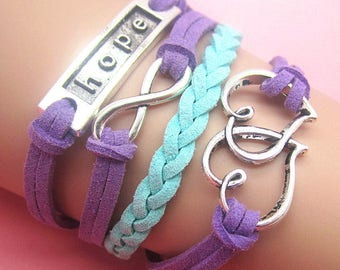 Hope and hearts infinity bracelet, free shipping