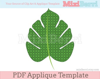Tropical Leaf Applique Template Instant Download for Crafts,Embroidery,Quilting,Sewing,Cards,Invitations,Handsewn DIY Applique Pattern PDF