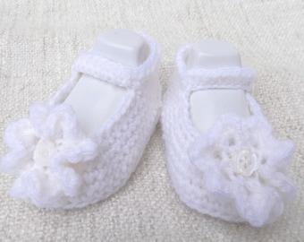 Pantofole bambini bambino mano uncinetto lana acrilico fiori, piccolo bambino, Pantofole Scarpe ideale battesimo bambino