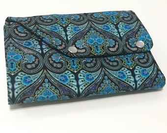 Blue Black Scroll Organizer Clutch Wallet | Passport holder | Planner Wallet