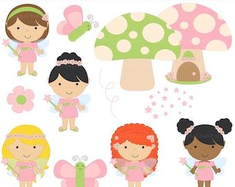 fairy clipart fairies digital clip art - Fairy Friends Clipart - BUY 2 GET 2 FREE