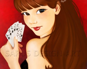 Playing With Cards -- 11x14