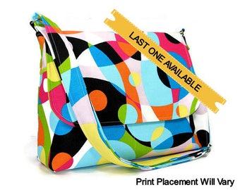 Canvas Messenger Purse, Cross Body Bag, Retro Handbag, Fabric Pocketbook, Premier Kaleidoscope Multi Color, Adjustable Strap, Pockets
