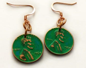 Penny Earrings, Green Patina Penny Earrings, Copper Earrings, 1964 Penny Earrings, Copper Penny Earrings, Lucky Penny, ELEMENTS Collection