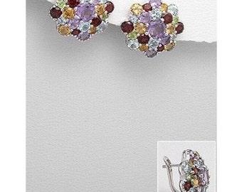 Sterling Silver Gemstone Stud Earrings, Statement Earrings, Silver Earrings For Women,  Gemstone Earrings, Anniversary Gift For Women