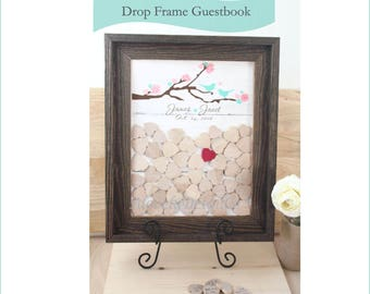 drop box guest book  ustic cherry blossom  Wedding Guest book  top Drop box alternative guest book  Frame and hearts book 100 guest