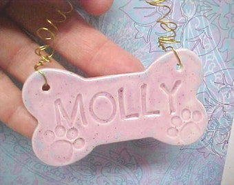Dog Bone Ornament,  Personalized Name, Custom Engraved, Pet Name Ornament, Pet Accessories, MADE to ORDER, Pet Lovers Gift