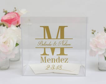 Personalized Wedding Card Box Clear Acrylic Modern Bridal Shower Engagement Party QUICK shipping  (Item EEBB201)