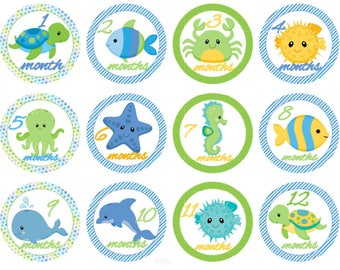 Baby Monthly Stickers Baby Boy Stickers Baby Month Stickers Sea Creatures Baby Shower Stickers