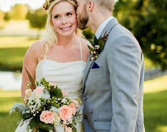 bridal flower crown wedding accessories orange brown yellow Woodland party headpiece  halo hair wreath accessories garland