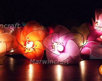 20 Multi String Lights Rain Lilly Flower Fairy Lights Bedroom Home Decor Living Room Wall Hanging Lights Wedding Decor Dorm Battery or Plug