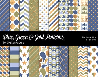 """Blue, Green & Gold Patterns, 20 Digital Papers 12""""x12"""", Photoshop Pattern File PAT Included, Seamless, Commercial Use, INSTANT DOWNLOAD"""