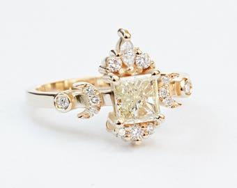 Square Princess Cut Diamond Unique Engagement Ring, Celestial Doorway to Heaven Hindi Moon, Yellow diamond 0.8 carat, Silly Shiny Diamonds
