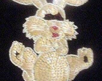 Sequins & Beaded Cream Bunny Rabbit (Large) Applique