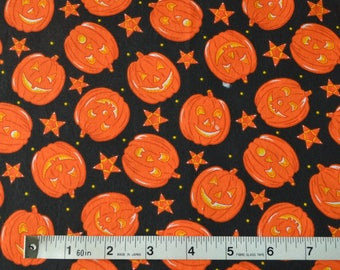 Item 409, 100% Cotton Fabric, Orange Pumpkins and Stars on Black, 1 yard cut