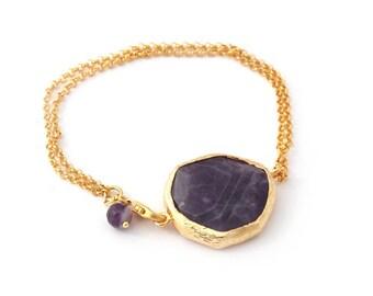 Purple Amethyst Stones Bracelet, amethyst slab stone, amethyst bracelet, big amethyst bracelet, big stone bracelet, birth stone, statement