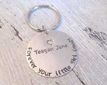 Dad Gift, Personalized Dad Gift, Dad Keychain, Personalized Dad Keychain, New Dad Gift, Forever Your Little Girl Daddy, Father's Day Gift