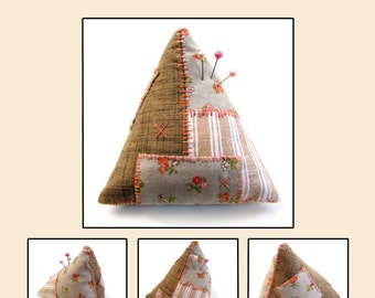 Pincushion Pattern / Digital PDF Sewing Pattern / Patchwork Pattern / Triangular Pyramid Tetrahedron Pincushion Pattern