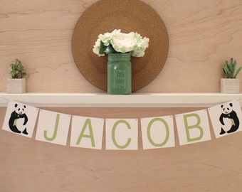 "Panda Banner - Custom Name or Phrase - Optional Bow - Panda Baby Shower or Party Decoration - Custom Colors - 4"" Tall Pennants"
