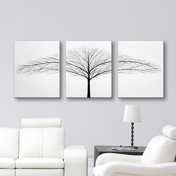 Black And White Artwork For Bedroom: Tree Of Life Wall Art Black And White Art Canvas Art Set 3
