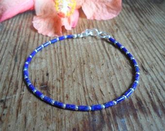 Delicate bracelet lapis lazuli & silver