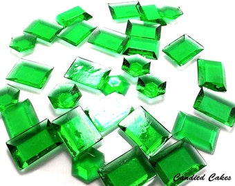 GREEN EDIBLE SUGAR Jewels - Cupcake Toppers, Wedding Cake Decorations, Candy or Dessert Table, Sugar Gems, Featured in Brides Magazine