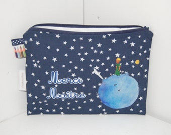 "Kit Navy rectangular man, ""Thank you teacher"", Star, blue, little prince"