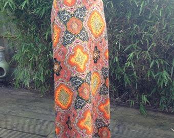 ORIGINAL 60s 70s psychedelic pattern hippie folk high waist maxi skirt XXS uk 4 6