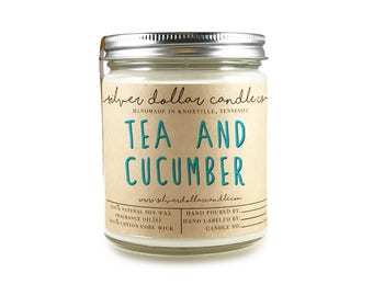 Tea & Cucumber Scented Candle 8oz, mom gift, gifts for her, relaxing candle, calming candle candles, fresh scent, clean candle,birthday gift