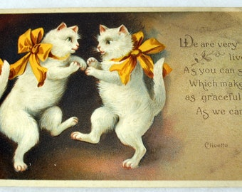 Lively White Kitties-Cat Dance-Clivette Art - 1908 Embossed  Greeting Vintage Postcard
