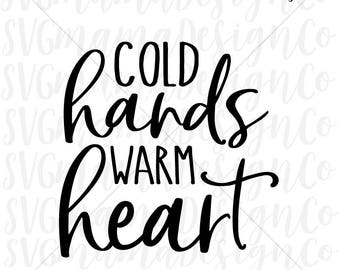 Cold Hands Warm Heart SVG Coffee Mug Tumbler SVG Cut File for Cricut and Silhouette