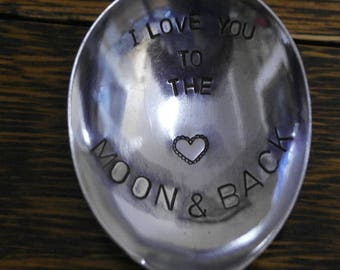 hand stamped cutlery spoon valentines love you to the moon and back