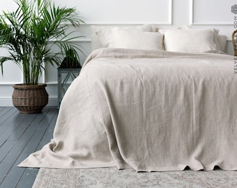 Linen bedspread-linen quilt- softened linen bed cover-queen king size quilt-Pre washed not bleached linen coverlet-Softened linen throw
