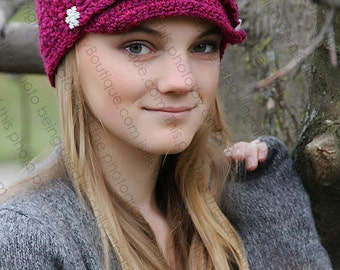"Newsboy Hat Crocheted ""The Olivia Rose""  Fuschia Skater Brimmed Hat Lid Cap"
