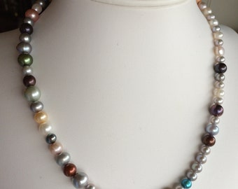 Necklace — Mix of Dyed Freshwater Pearls