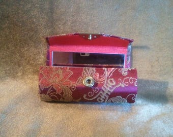 Asian Fabric Covered Lipstick Case with Mirror...Free Shipping!