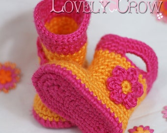Rainboots Crochet Pattern Baby Rainboots  for Baby Goshalosh Boots -  4 sizes - Newborn to 12 months. digital