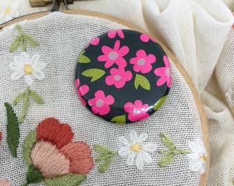 Embroidery Supplies - Cross Stitch - Needle Minder - Needle Holder - Needle Nanny - Magnet - Needle Keeper - Hot Pink Flowers Needle Minder
