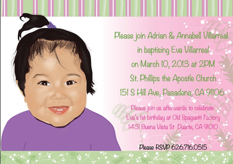 Personalized Baptism Invitation Baby Girl BaptismChristening