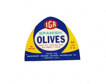 Vintage IGA Spanish Olives Jar Label, 1950s