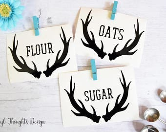 Antler Pantry Vinyl Decal--Canister Label--Pantry Label--Vinyl Sticker--Pantry Sticker--Antler Decal