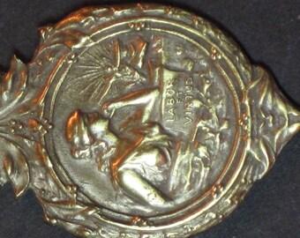 Vintage Art Nouveau Lady Labor Work Pendant Medal