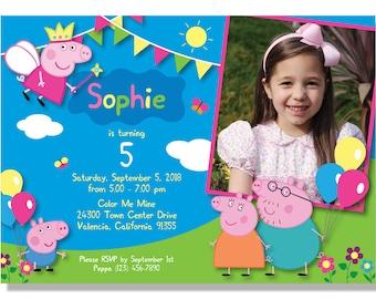 Peppa Pig Birthday Invitations - Digital File