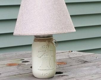 Liberty Bell, Liberty Bell Lamp, Mason Jar Lamp, Americana Lamp, Americana Decor, Mason Jar Decor, Americana Farmhouse, Unique Lamp