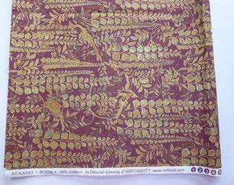 Mikado Birds of Paradise - Metallic Cotton Fabric