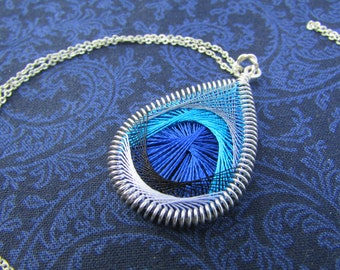 Blue Jay Feather Necklace - Medium Size Pendant