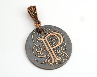 Copper P pendant, small round flat metal etched monogram initial, optional necklace, 25mm