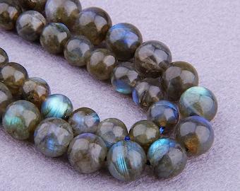 "Natural Labradorite beads , Round Gemstone Beads , 6mm 8mm 10mm 12mm Labradorite Beads , Polished Flash Fire Gemstone Beads 15.5"" Strand"